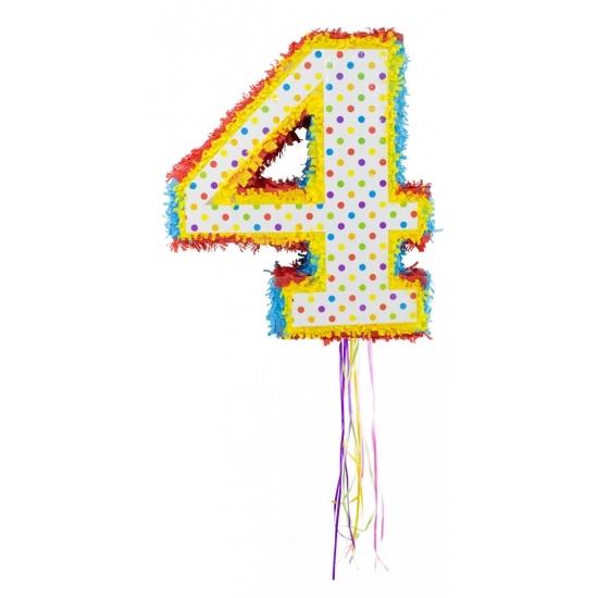Leeftijd feestartikelen Gekleurde pinata cijfer 4