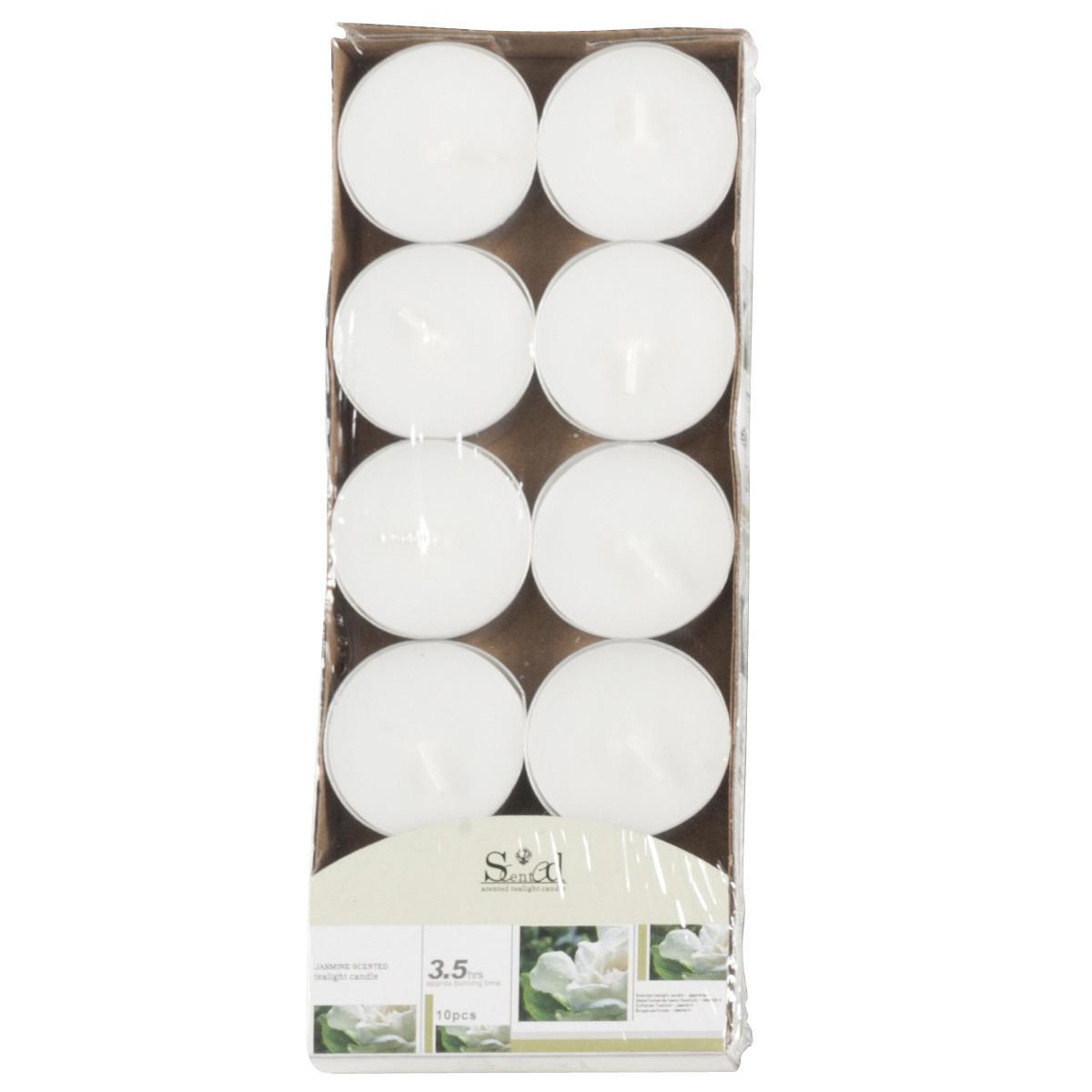 Geurkaarsjes jasmijn wit 10 stuks Geen gaafste producten