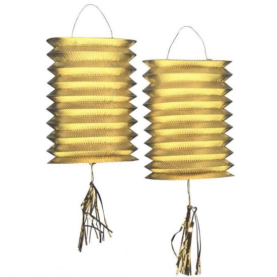 Feestartikelen diversen Gouden lampionnen 2 stuks