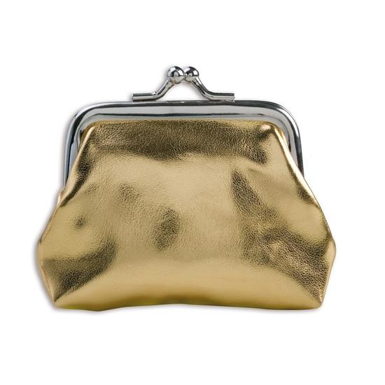 5849b829221 Portemonnee goud metallic. een klein glimmend gouden dames of meiden  portemonnee met knip sluiting.