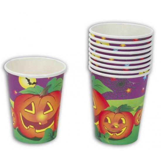 Halloween feestbekers pompoen 10 stuks. deze kartonnen halloween feestbekers met plaatjes van pompoenen zijn ...