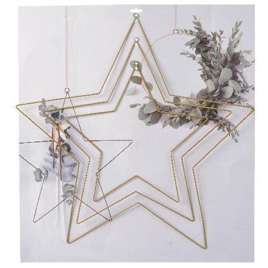 Hobby materialen 3 stuks metalen ophang ringen in stervorm goud