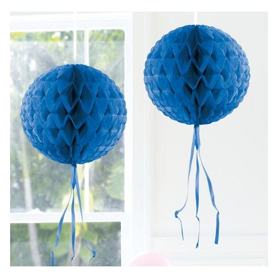 Kleuren versiering Honeycomb ballen blauw 30 cm