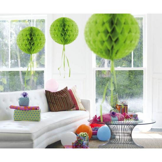 Geen Honeycomb ballen lime groen 30 cm Kleuren versiering