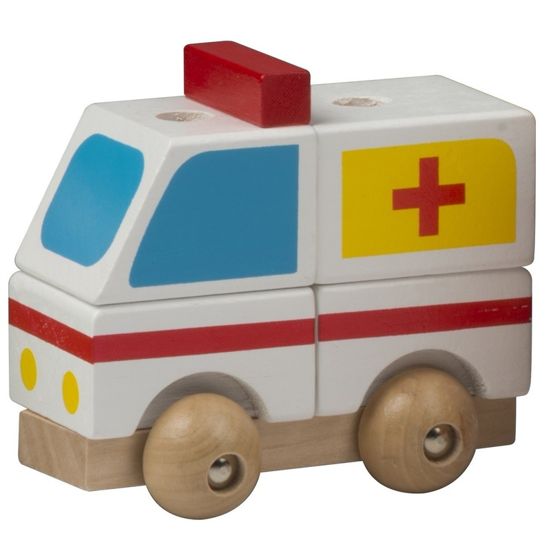 Houten speelgoed ziekenwagen wit