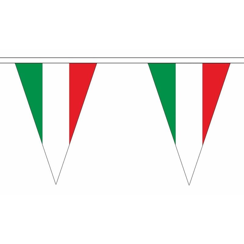 Italie slinger met puntvlaggetjes 20 meter AlleKleurenShirts Landen versiering en vlaggen
