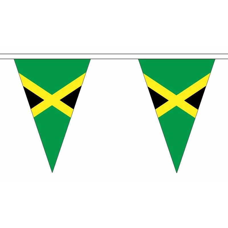 Jamaica slinger met puntvlaggetjes 5 meter AlleKleurenShirts Landen versiering en vlaggen