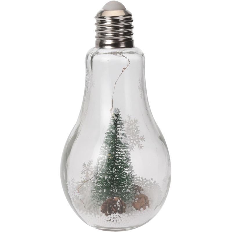 Kerstversiering kerstboompje in lampenbolletje 22 cm