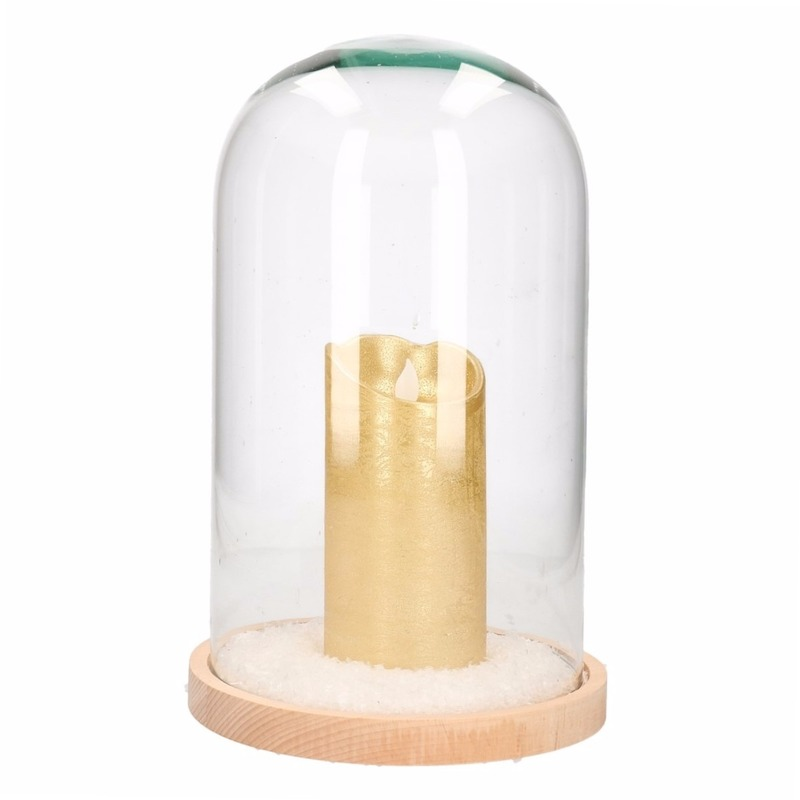 Kerstversiering stolp met hoge gouden LED kaars