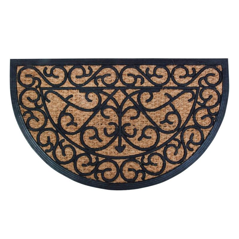 Klassieke print halfronde deurmat rubber-kokos 75 x 45 cm