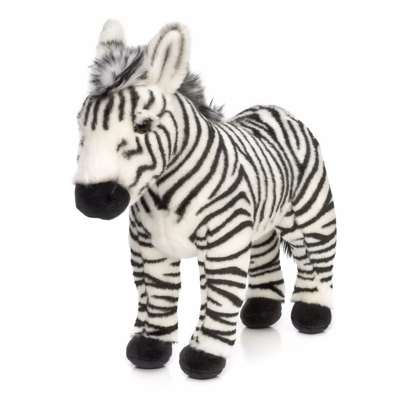 Knuffel staande zebra 23 cm