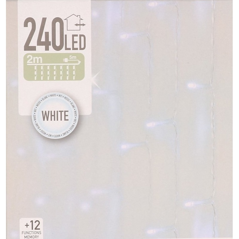 Koel witte deurgordijn kerstlampjes 1,5 x 2,25 meter met 240 lampjes