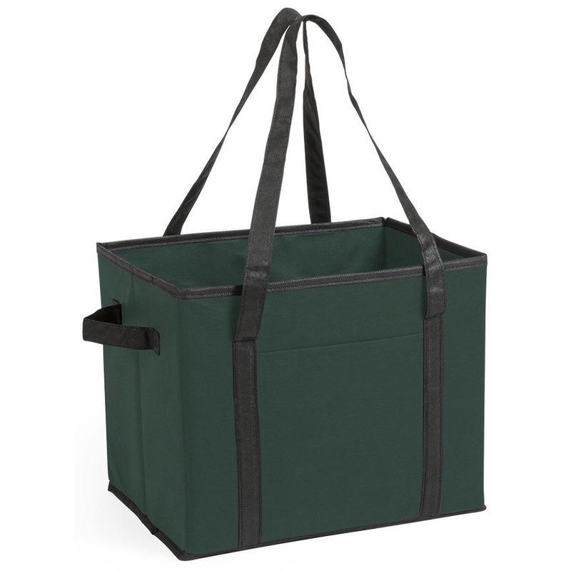 Kofferbak-kasten opberg tas donkergroen voor auto spullen 34 x 28 x 25 cm