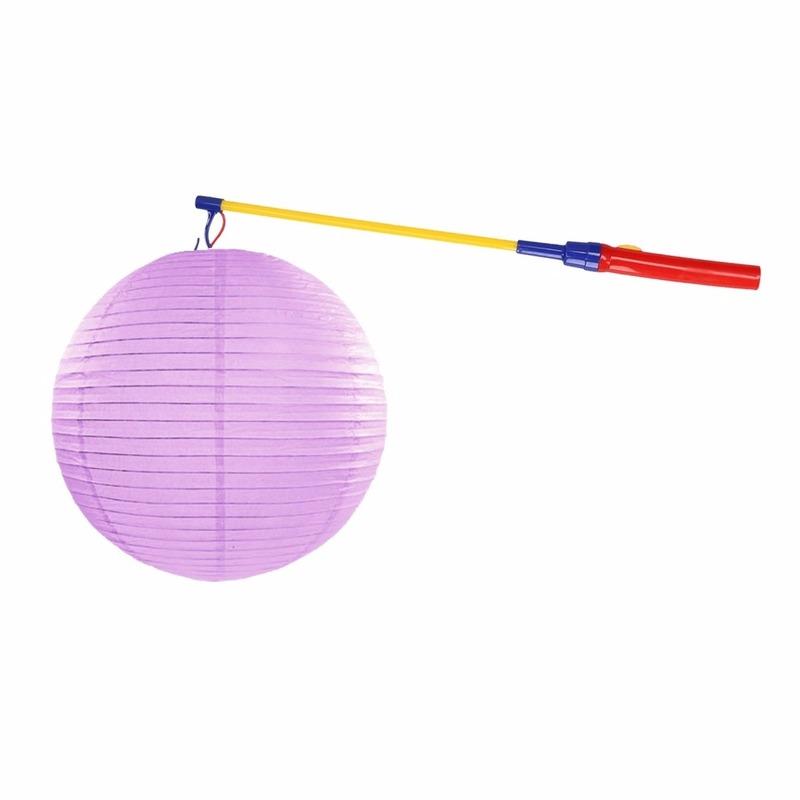 Geen Lampionset lila 35 cm met lampionstokje Feestartikelen diversen