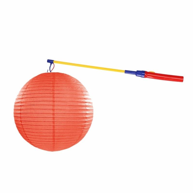 Lampionset oranje 35 cm met lampionstokje Geen Feestartikelen diversen