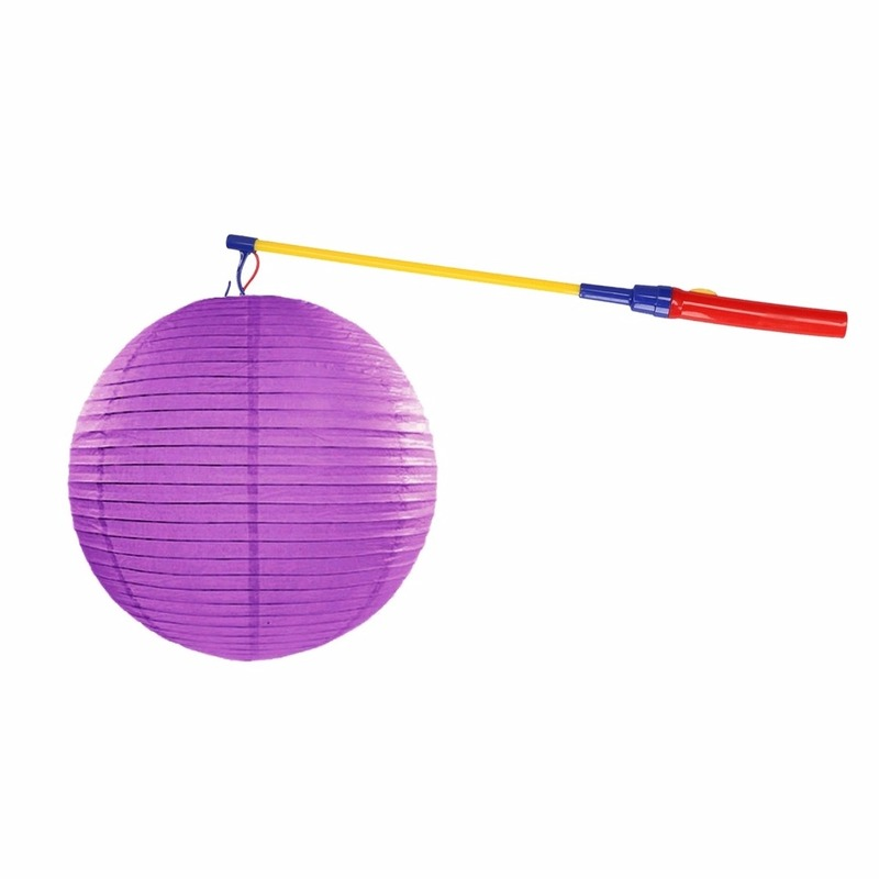Feestartikelen diversen Lampionset paars 35 cm met lampionstokje