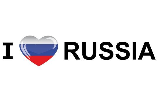 Landen sticker I Love Russia Shoppartners Landen versiering en vlaggen