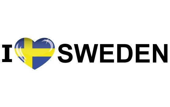 Landen versiering en vlaggen Shoppartners Landen sticker I Love Sweden