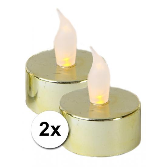 Woonaccessoires Geen LED waxinelichtjes goud 2 stuks