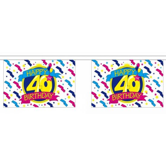 AlleKleurenShirts Luxe vlaggenlijn 40 jaar Leeftijd feestartikelen