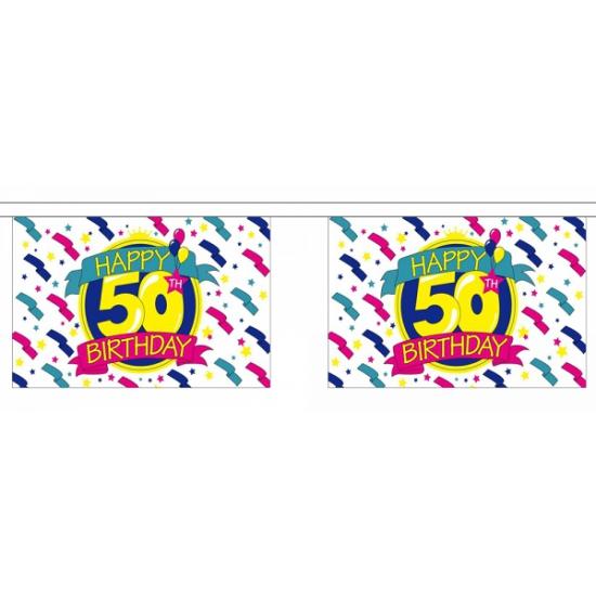 AlleKleurenShirts Luxe vlaggenlijn 50 jaar Leeftijd feestartikelen