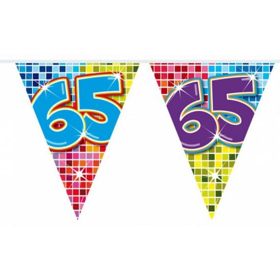 Mini vlaggenlijn 65 jaar 3 meter Folat Leeftijd feestartikelen