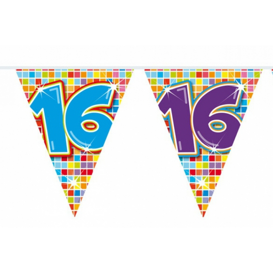 Leeftijd feestartikelen Folat Mini vlaggetjeslijn 16 jaar