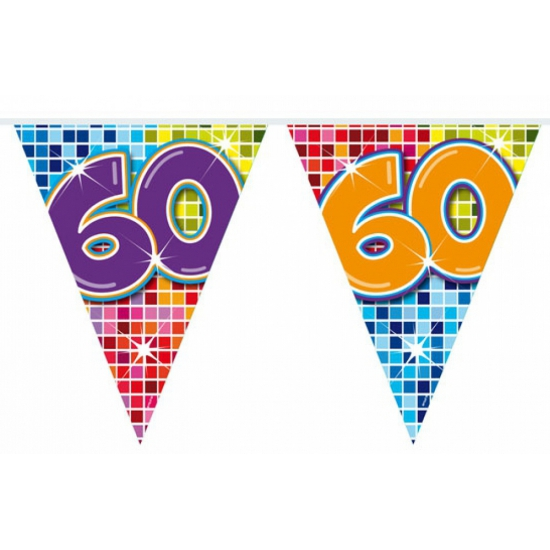 Leeftijd feestartikelen Folat Mini vlaggetjeslijn 60 jaar