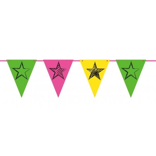 Neon kleurige slingers 6 meter Folat Thema feestartikelen