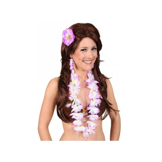 Hawaii feestartikelen Geen Paarse Hawaii set voor dames
