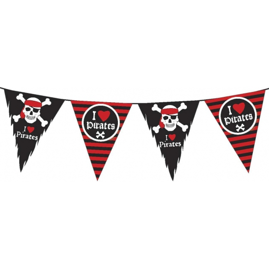 Geen Piratenfeest vlaggenlijn slingers zwart rood 6 meter Kinderfeestjes