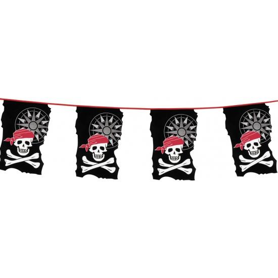 Plastic piraten vlaggenlijn slingers 10 meter AlleKleurenShirts Kinderfeestjes