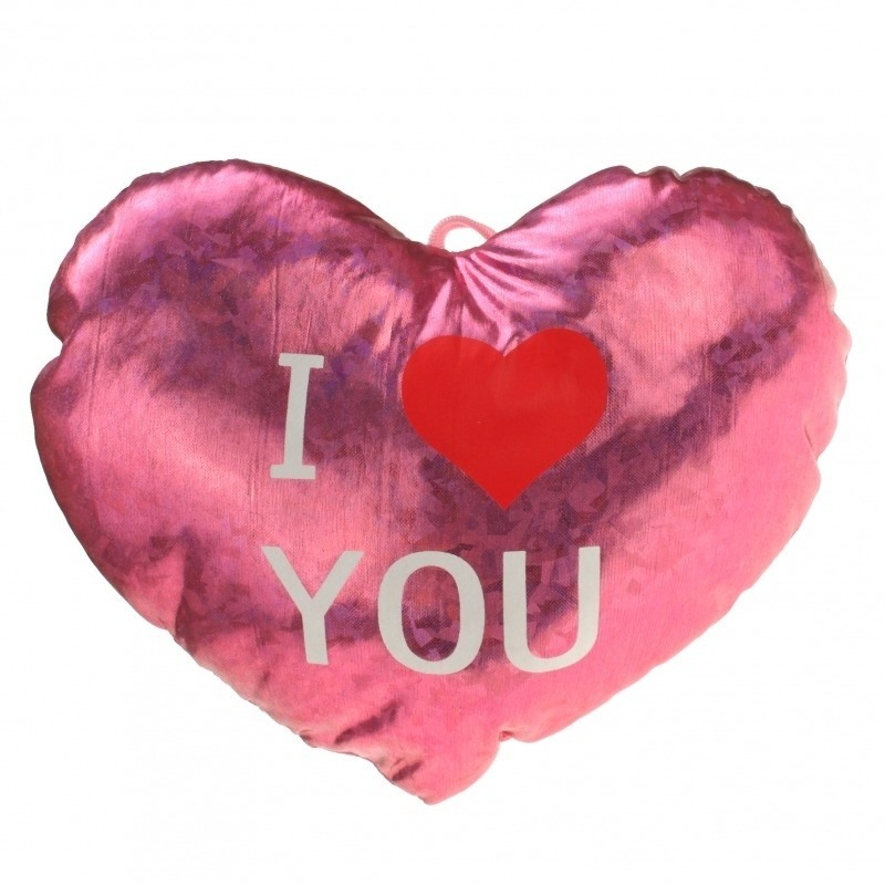 Pluche hartjes kussen I Love you 14 cm