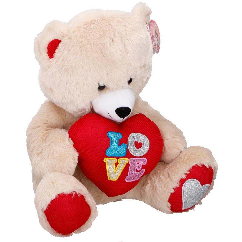 Pluche Valentijnsdag beer knuffeldier met hart beige 43 cm