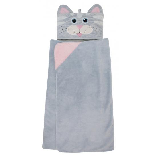 Fleece deken poes met capuchon voor kinderen. super zachte en warme fleece deken met capuchon van een grijze ...