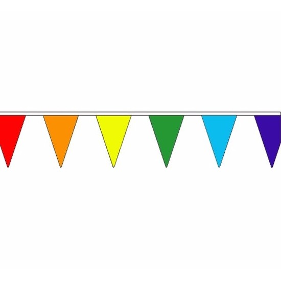 Feestartikelen diversen Regenboog slinger met puntvlaggetjes 20 meter