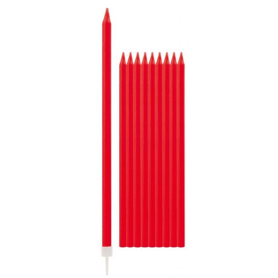 Rode taartkaarsjes 10 stuks AlleKleurenShirts Kleuren versiering