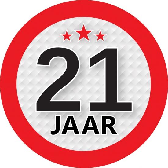 Ronde 21 jaar sticker van 9 cm Shoppartners Hoge kwaliteit