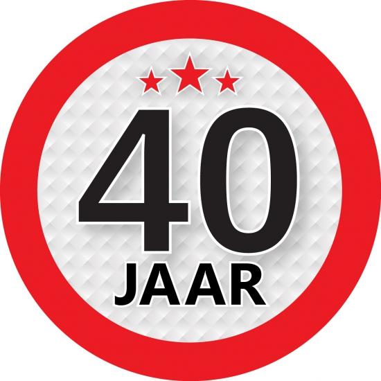 Ronde 40 jaar sticker van 9 cm Shoppartners Leeftijd feestartikelen