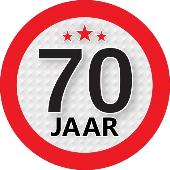 Ronde 70 jaar sticker van 9 cm Shoppartners te koop