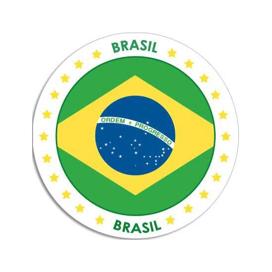 Landen versiering en vlaggen Shoppartners Ronde Brazilie sticker