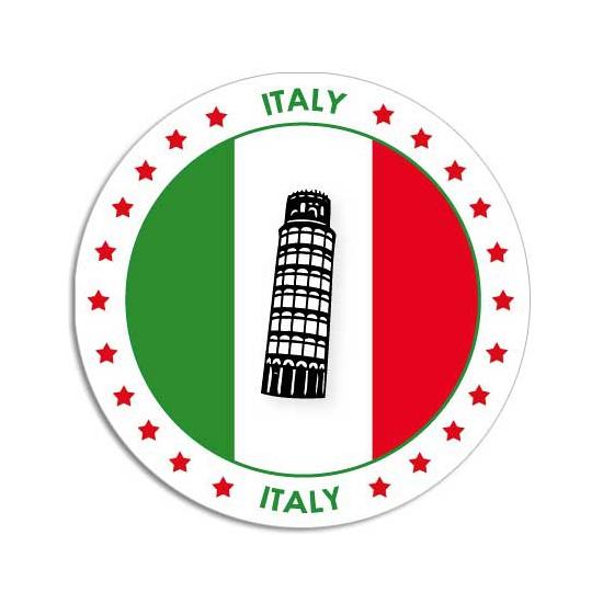 Ronde Italie sticker Shoppartners Landen versiering en vlaggen