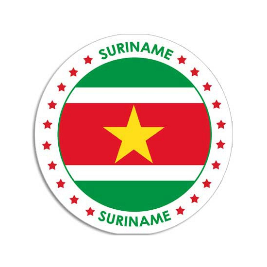 Shoppartners Ronde Suriname sticker Landen versiering en vlaggen