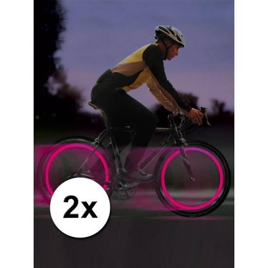 Roze fietslampjes set voor fietsventiel