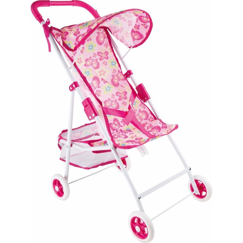 Roze vlinder buggy voor poppen