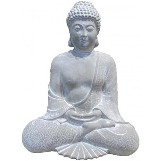 Tuin artikelen AlleKleurenShirts Tuinbeeld boeddha mediterend 28 cm