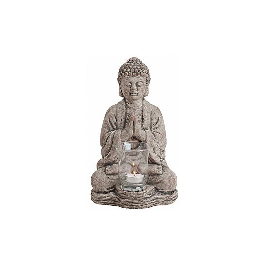 Woonaccessoires Tuindecoratie Boeddha waxinelicht houder grijs 30 cm
