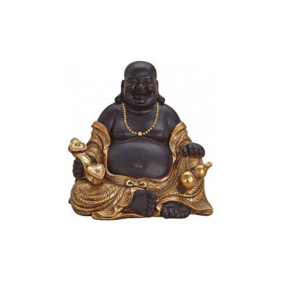 Woonaccessoires Geen Tuindecoratie happy Boeddha beeld bruin goud 29 cm