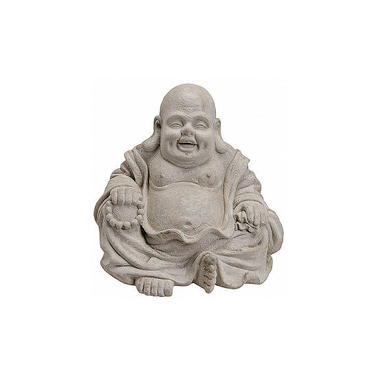 Geen Tuindecoratie happy Boeddha beeld grijs 32 cm Woonaccessoires