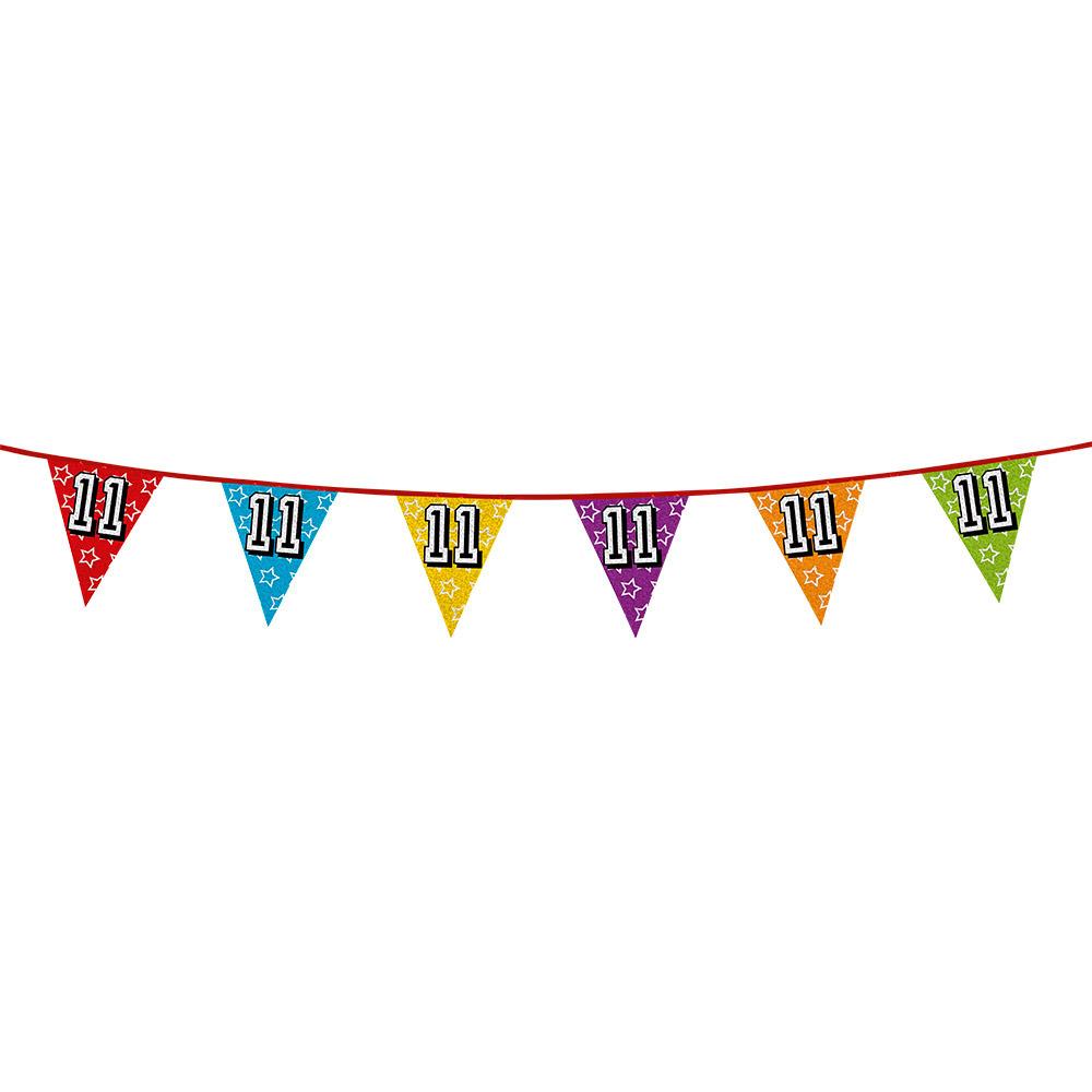 AlleKleurenShirts Vlaggenlijn 11 jaar feestje Leeftijd feestartikelen